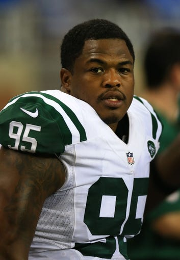 Aug 9, 2013; Detroit, MI, USA; New York Jets linebacker Antwan Barnes (95) during a preseason game against the Detroit Lions at Ford Field. Mandatory Credit: Andrew Weber-USA TODAY Sports