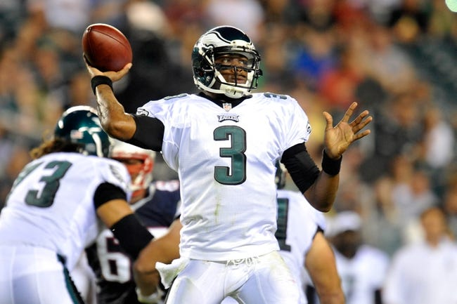 Aug 9, 2013; Philadelphia, PA, USA; Philadelphia Eagles quarterback Dennis Dixon (3) throws a pass against the New England Patriots during the first half of a preseason game at Lincoln Financial Field. The Patriots won 31-22. Mandatory Credit: Joe Camporeale-USA TODAY Sports