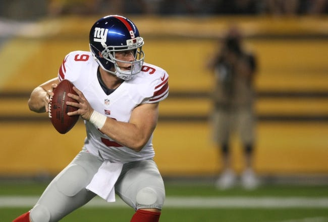 Aug 10, 2013; Pittsburgh, PA, USA; New York Giants quarterback Ryan Nassib (9) drops back to pass against the Pittsburgh Steelers during the second half at Heinz Field. The Giants won the game, 18-13. Mandatory Credit: Jason Bridge-USA TODAY Sports