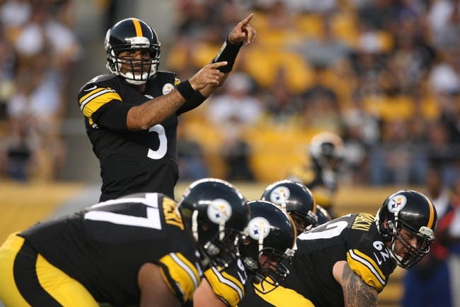 Aug 10, 2013; Pittsburgh, PA, USA; Pittsburgh Steelers quarterback Bruce Gradkowski (5) calls a play against the New York Giants during the first half at Heinz Field. Mandatory Credit: Jason Bridge-USA TODAY Sports