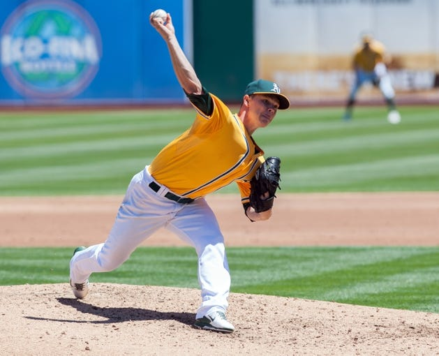 Aug 15, 2013; Oakland, CA, USA; Oakland Athletics starting pitcher Sonny Gray (54) pitches against the Houston Astros during the third inning at O.Co Coliseum. Mandatory Credit: Ed Szczepanski-USA TODAY Sports