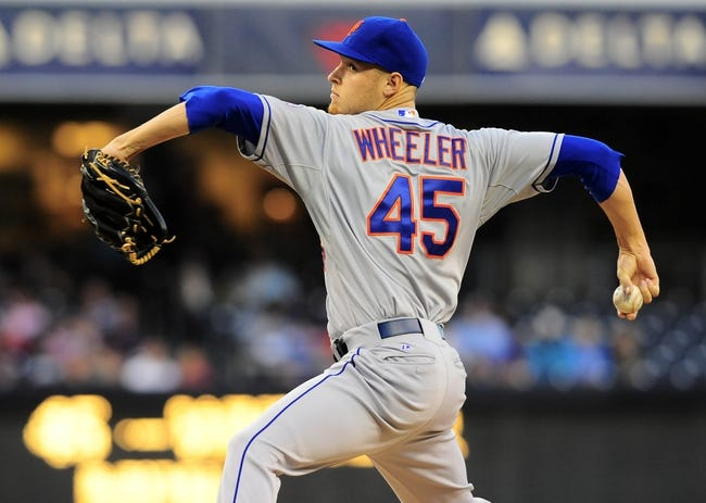 Aug 15, 2013; San Diego, CA, USA; New York Mets starting pitcher Zack Wheeler (45) throws during the first inning against the San Diego Padres at Petco Park. Mandatory Credit: Christopher Hanewinckel-USA TODAY Sports