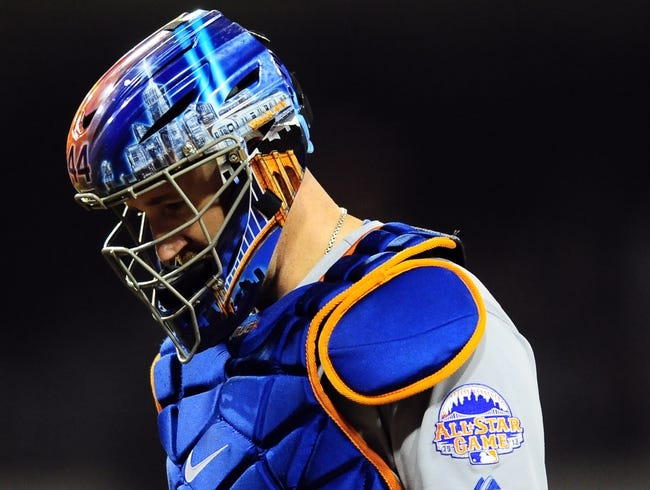 Aug 15, 2013; San Diego, CA, USA; New York Mets catcher John Buck (44) during the sixth inning against the San Diego Padres at Petco Park. Mandatory Credit: Christopher Hanewinckel-USA TODAY Sports