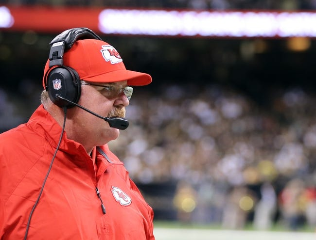 Aug 9, 2013; New Orleans, LA, USA; Kansas City Chiefs head coach Andy Reid during the first quarter of their game against the New Orleans Saints at the Mercedes-Benz Superdome. Mandatory Credit: Chuck Cook-USA TODAY Sports