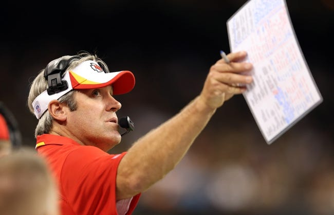 Aug 9, 2013; New Orleans, LA, USA; Kansas City Chiefs offensive coordinator Doug Pederson in the third quarter of their game against the New Orleans Saints at the Mercedes-Benz Superdome. Mandatory Credit: Chuck Cook-USA TODAY Sports