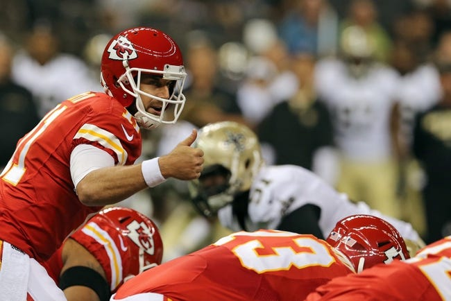 Aug 9, 2013; New Orleans, LA, USA; Kansas City Chiefs quarterback Alex Smith (11) signals to teammates during the first quarter of their game against the New Orleans Saints at the Mercedes-Benz Superdome. Mandatory Credit: Chuck Cook-USA TODAY Sports