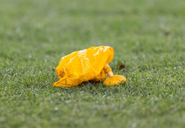 Aug 9, 2013; Green Bay, WI, USA; A penalty flag sits on the field during the game between the Green Bay Packers and Arizona Cardinals at Lambeau Field.  The Cardinals won 17-0.  Mandatory Credit: Jeff Hanisch-USA TODAY Sports
