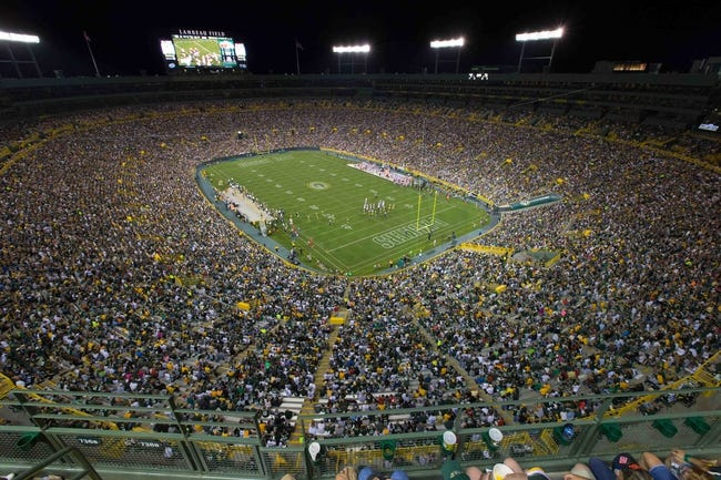 Aug 9, 2013; Green Bay, WI, USA; A wide angle view of Lambeau Field during the game between the Arizona Cardinals and Green Bay Packers.  The Cardinals won 17-0.  Mandatory Credit: Jeff Hanisch-USA TODAY Sports
