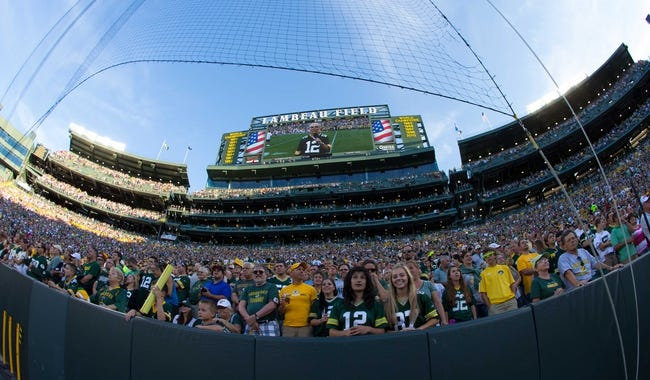 Aug 9, 2013; Green Bay, WI, USA; A wide angle view of the south endzone of Lambeau Field prior to the game between the Arizona Cardinals and Green Bay Packers.  The Cardinals won 17-0.  Mandatory Credit: Jeff Hanisch-USA TODAY Sports