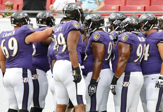 Aug 8, 2013; Tampa, FL, USA; Baltimore Ravens defense huddles up prior to the game against the Tampa Bay Buccaneers at Raymond James Stadium. Mandatory Credit: Kim Klement-USA TODAY Sports