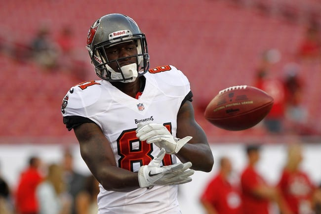Aug 8, 2013; Tampa, FL, USA; Tampa Bay Buccaneers wide receiver Timothy Wright (81) prior to the game against the Baltimore Ravens at Raymond James Stadium. Mandatory Credit: Kim Klement-USA TODAY Sports