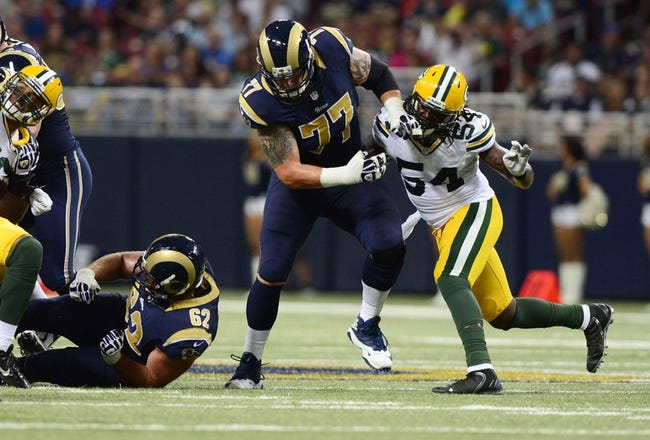 Aug 17, 2013; St. Louis, MO, USA; St. Louis Rams tackle Jake Long (77) defends against Green Bay Packers outside linebacker Dezman Moses (54) during the first half at the Edward Jones Dome. Mandatory Credit: Jeff Curry-USA TODAY Sports
