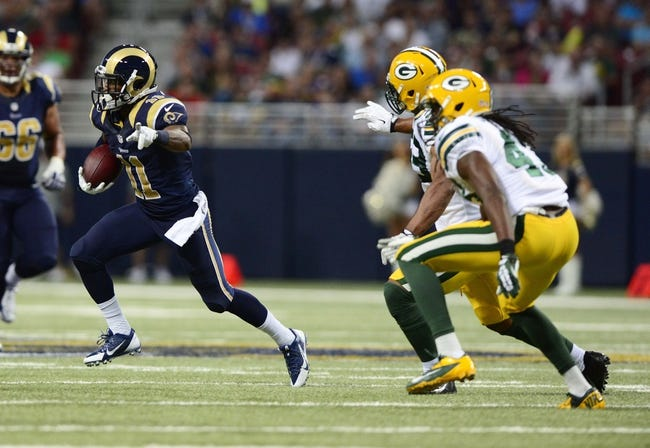 Aug 17, 2013; St. Louis, MO, USA; St. Louis Rams wide receiver Tavon Austin (11) points down field after catching a pass against the Green Bay Packers during the first half at the Edward Jones Dome. Mandatory Credit: Jeff Curry-USA TODAY Sports