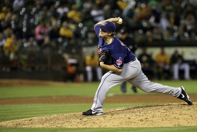 Aug 17, 2013; Oakland, CA, USA; Cleveland Indians relief pitcher Matt Albers (32) pitches the ball against the Oakland Athletics during the ninth inning at O.co Coliseum. The Cleveland Indians defeated the Oakland Athletics 7-1. Mandatory Credit: Kelley L Cox-USA TODAY Sports