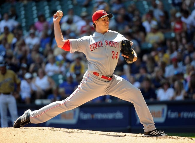 Aug 18, 2013; Milwaukee, WI, USA; Cincinnati Reds pitcher Homer Bailey pitches in the first inning against the Milwaukee Brewers at Miller Park. Mandatory Credit: Benny Sieu-USA TODAY Sports