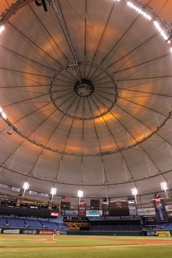 Aug 15, 2013; St. Petersburg, FL, USA; An overview of Tropicana Field roof turns orange after the Tampa Bay Rays defeated the Seattle Mariners. The roof turns orange when the Rays win. Tampa Bay Rays defeated the Seattle Mariners 7-1. Mandatory Credit: Kim Klement-USA TODAY Sports