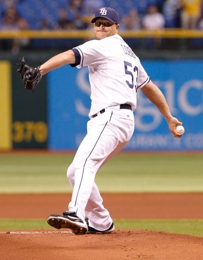 Aug 15, 2013; St. Petersburg, FL, USA; Tampa Bay Rays starting pitcher Alex Cobb (53) throws a pitch against the Seattle Mariners at Tropicana Field. Mandatory Credit: Kim Klement-USA TODAY Sports