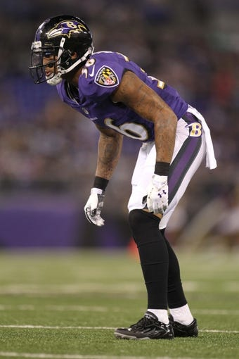 Aug 15, 2013; Baltimore, MD, USA; Baltimore Ravens cornerback Marc Anthony (36) during the game against the Atlanta Falcons at M&T Bank Stadium. Mandatory Credit: Mitch Stringer-USA TODAY Sports
