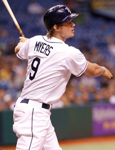 Aug 15, 2013; St. Petersburg, FL, USA; Tampa Bay Rays right fielder Wil Myers (9) at bat against the Seattle Mariners at Tropicana Field. Tampa Bay Rays defeated the Seattle Mariners 7-1. Mandatory Credit: Kim Klement-USA TODAY Sports