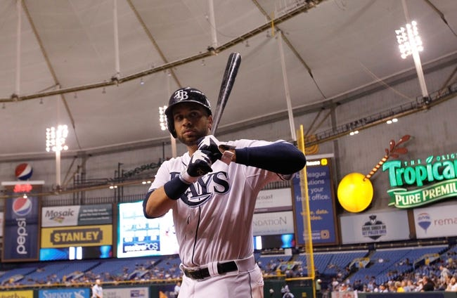 Aug 15, 2013; St. Petersburg, FL, USA; Tampa Bay Rays first baseman James Loney (21) on deck against the Seattle Mariners during the fifth inning at Tropicana Field. Mandatory Credit: Kim Klement-USA TODAY Sports