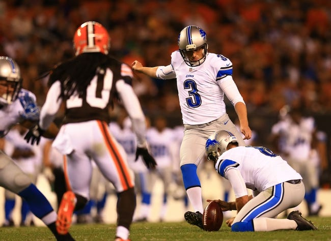 Aug 15, 2013; Cleveland, OH, USA; Detroit Lions kicker Havard Rugland (3) during a preseason game against the Cleveland Browns at FirstEnergy Stadium. Mandatory Credit: Andrew Weber-USA TODAY Sports