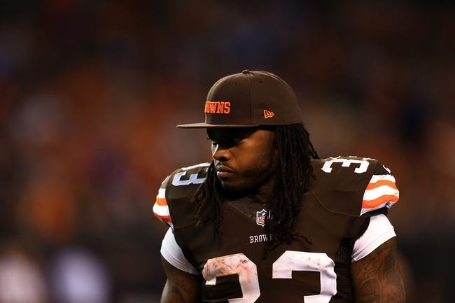Aug 15, 2013; Cleveland, OH, USA; Cleveland Browns running back Trent Richardson (33) during a preseason game against the Detroit Lions at FirstEnergy Stadium. Mandatory Credit: Andrew Weber-USA TODAY Sports