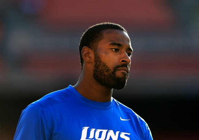Aug 15, 2013; Cleveland, OH, USA; Detroit Lions wide receiver Calvin Johnson (81) during a preseason game against the Cleveland Browns at FirstEnergy Stadium. Mandatory Credit: Andrew Weber-USA TODAY Sports