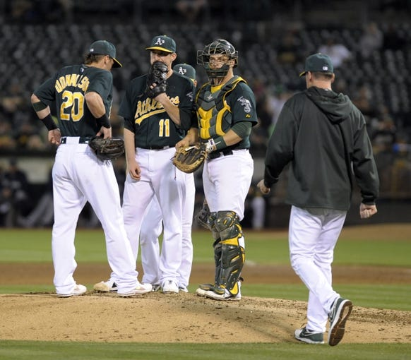 Aug 19, 2013; Oakland, CA, USA; Oakland Athletics manager Bob Melvin (6) visits the mound to talk to starting pitcher Jarrod Parker (11) during the eighth inning of the game against the Seattle Mariners at O.Co Coliseum. The Oakland Athletics defeated the Seattle Mariners 2-1. Mandatory Credit: Ed Szczepanski-USA TODAY Sports