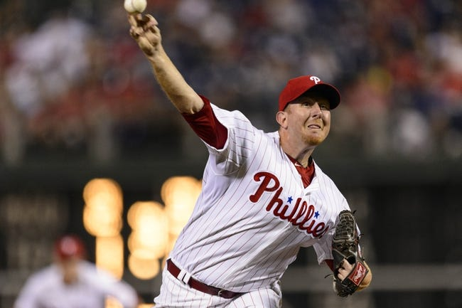 Aug 20, 2013; Philadelphia, PA, USA; Philadelphia Phillies pitcher Zach Miner (45) delivers to the plate during the seventh inning against the Colorado Rockies at Citizens Bank Park. The Rockies defeated the Phillies 5-3. Mandatory Credit: Howard Smith-USA TODAY Sports