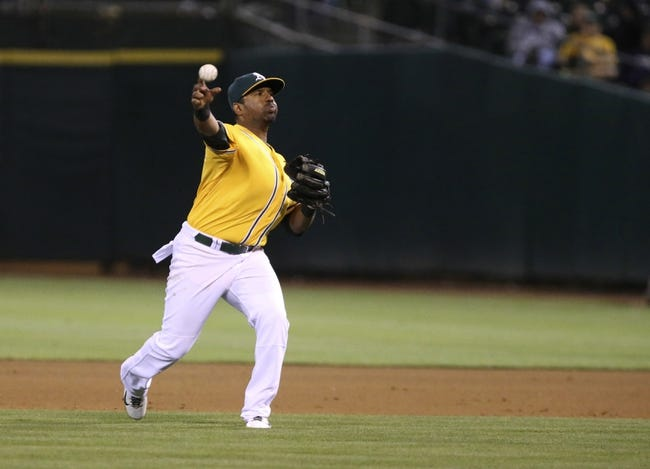 Aug 20, 2013; Oakland, CA, USA; Oakland Athletics second baseman Alberto Callaspo (18) throws the ball home against the Seattle Mariners during the eighth inning at O.co Coliseum. The Seattle Mariners defeated the Oakland Athletics 7-4. Mandatory Credit: Kelley L Cox-USA TODAY Sports