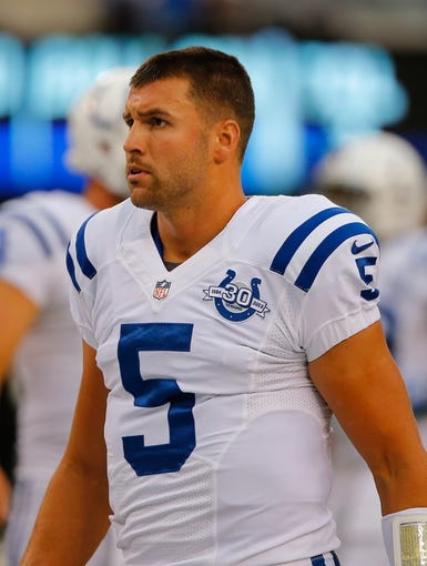 Aug 18, 2013; East Rutherford, NJ, USA; Indianapolis Colts quarterback Chandler Harnish (5) prior to game against the New York Giants at MetLife Stadium. Mandatory Credit: Jim O'Connor-USA TODAY Sports