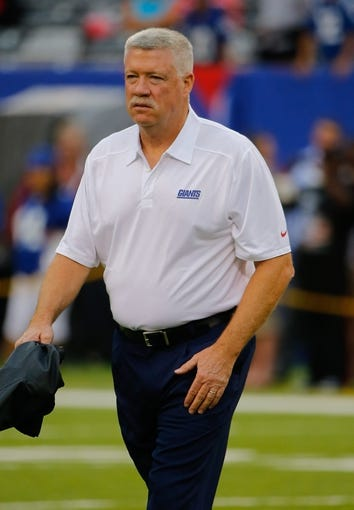 Aug 18, 2013; East Rutherford, NJ, USA; New York Giants offensive coordinator Kevin Gilbride prior to game against the Indianapolis Colts at MetLife Stadium. Mandatory Credit: Jim O'Connor-USA TODAY Sports