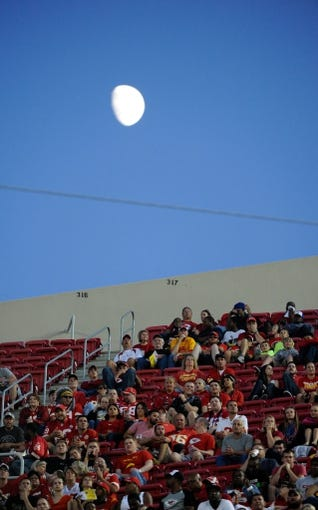 Aug 16, 2013; Kansas City, MO, USA; Fans watch the game between the Kansas City Chiefs and the San Francisco 49ers in the first half at Arrowhead Stadium. San Francisco won the game 15-13. Mandatory Credit: John Rieger-USA TODAY Sports