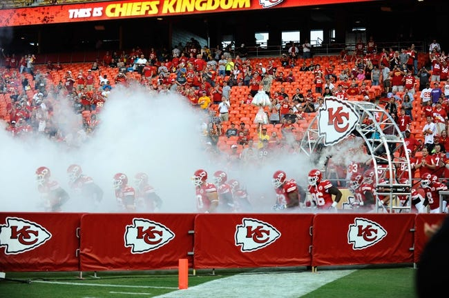 Aug 16, 2013; Kansas City, MO, USA; Kansas City Chiefs players enter the field before the game against the San Francisco 49ers at Arrowhead Stadium. San Francisco won the game 15-13. Mandatory Credit: John Rieger-USA TODAY Sports
