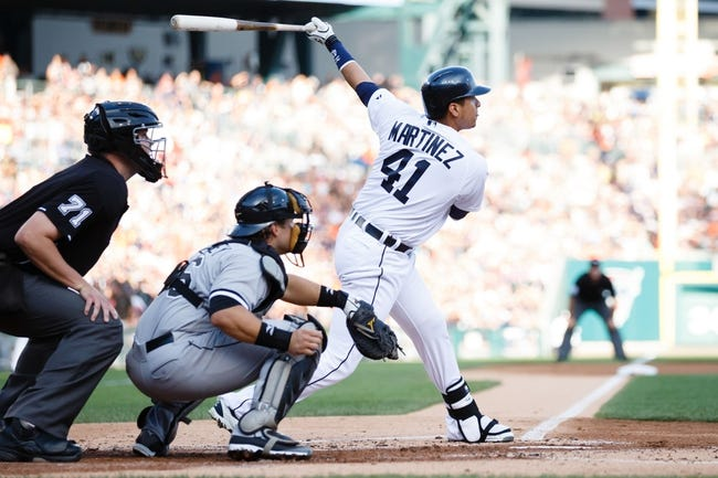 Aug 3, 2013; Detroit, MI, USA; Detroit Tigers designated hitter Victor Martinez (41) at bat against the Chicago White Sox at Comerica Park. Mandatory Credit: Rick Osentoski-USA TODAY Sports