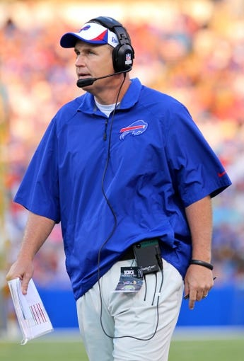 Aug 16, 2013; Orchard Park, NY, USA;  Buffalo Bills head coach Doug Marrone during a game against the Minnesota Vikings at Ralph Wilson Stadium.  Mandatory Credit: Timothy T. Ludwig-USA TODAY Sports