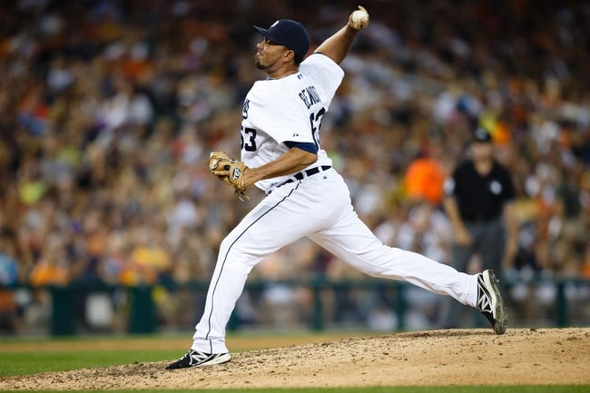 Aug 3, 2013; Detroit, MI, USA; Detroit Tigers relief pitcher Joaquin Benoit (53) pitches against the Chicago White Sox at Comerica Park. Mandatory Credit: Rick Osentoski-USA TODAY Sports