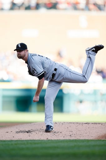 Aug 3, 2013; Detroit, MI, USA; Chicago White Sox starting pitcher John Danks (50) pitches in the first inning against the Detroit Tigers at Comerica Park. Mandatory Credit: Rick Osentoski-USA TODAY Sports