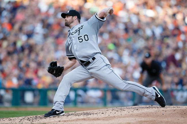 Aug 3, 2013; Detroit, MI, USA; Chicago White Sox starting pitcher John Danks (50) pitches in the second inning against the Detroit Tigers at Comerica Park. Mandatory Credit: Rick Osentoski-USA TODAY Sports