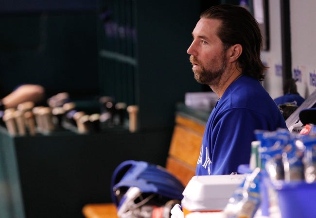 Aug 16, 2013; St. Petersburg, FL, USA; Toronto Blue Jays starting pitcher R.A. Dickey (43) against the Tampa Bay Rays at Tropicana Field. Mandatory Credit: Kim Klement-USA TODAY Sports