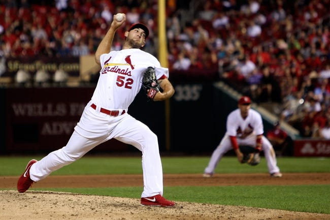 Aug 22, 2013; St. Louis, MO, USA; St. Louis Cardinals starting pitcher Michael Wacha (52) pitches in the eighth inning against the Atlanta Braves at Busch Stadium. Mandatory Credit: Scott Kane-USA TODAY Sports