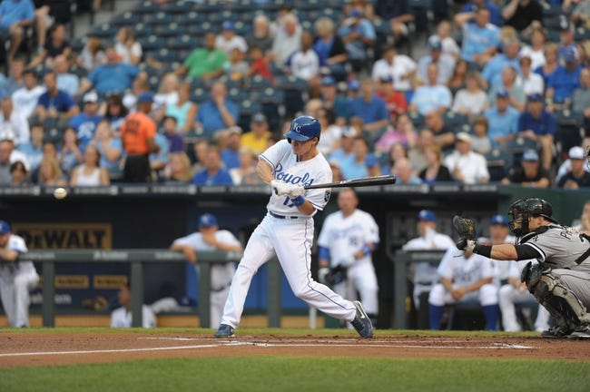 Aug 21, 2013; Kansas City, MO, USA; Kansas City Royals second baseman Chris Getz (17) at bat in the first inning of the game against the Chicago White Sox at Kauffman Stadium. Chicago won 5-2. Mandatory Credit: Denny Medley-USA TODAY Sports