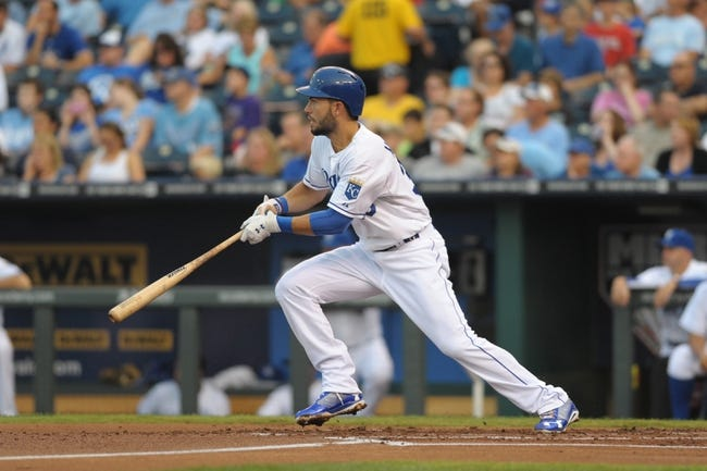 Aug 21, 2013; Kansas City, MO, USA; Kansas City Royals first baseman Eric Hosmer (35) at bat in the first inning of the game against the Chicago White Sox at Kauffman Stadium. Chicago won 5-2. Mandatory Credit: Denny Medley-USA TODAY Sports