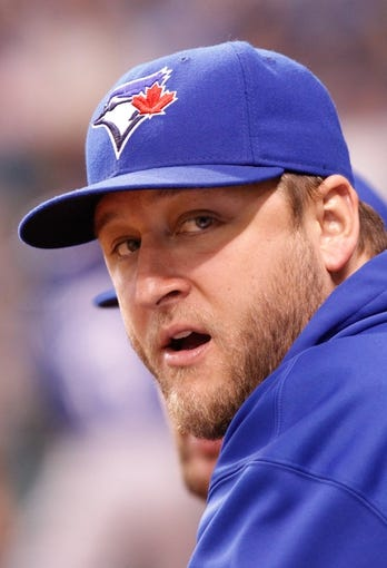 Aug 17, 2013; St. Petersburg, FL, USA; Toronto Blue Jays starting pitcher Mark Buehrle (56) against the Tampa Bay Rays at Tropicana Field. Toronto Blue Jays defeated the Tampa Bay Rays 6-2. Mandatory Credit: Kim Klement-USA TODAY Sports