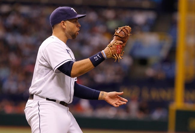 Aug 17, 2013; St. Petersburg, FL, USA; Tampa Bay Rays first baseman James Loney (21) reacts against the Toronto Blue Jays at Tropicana Field. Mandatory Credit: Kim Klement-USA TODAY Sports