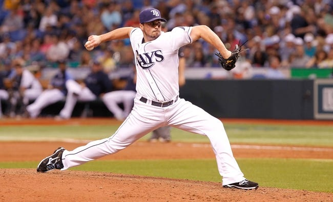 Aug 17, 2013; St. Petersburg, FL, USA; Tampa Bay Rays relief pitcher Alex Torres (54) throws a pitch against the Toronto Blue Jays at Tropicana Field. Toronto Blue Jays defeated the Tampa Bay Rays 6-2. Mandatory Credit: Kim Klement-USA TODAY Sports