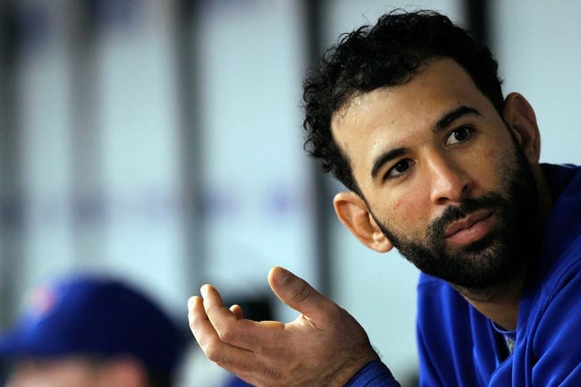 Aug 17, 2013; St. Petersburg, FL, USA; Toronto Blue Jays right fielder Jose Bautista (19) in the dugout against the Tampa Bay Rays at Tropicana Field. Toronto Blue Jays defeated the Tampa Bay Rays 6-2. Mandatory Credit: Kim Klement-USA TODAY Sports