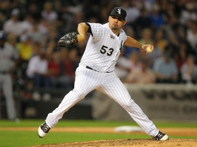 Aug 24, 2013; Chicago, IL, USA; Chicago White Sox starting pitcher Hector Santiago (53) throws a pitch during the seventh inning against the Texas Rangers at US Cellular Field. Chicago won 3-2. Mandatory Credit: Dennis Wierzbicki-USA TODAY Sports