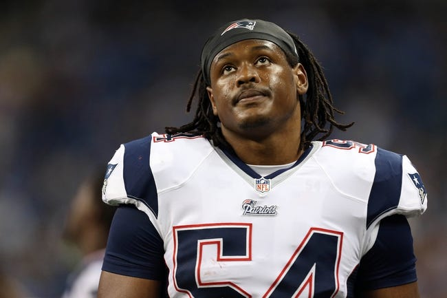 Aug 22, 2013; Detroit, MI, USA; New England Patriots outside linebacker Donta Hightower (54) walks the sideline in game against the Detroit Lions  at Ford Field. Lions won 40-9.  Mandatory Credit: Mike Carter-USA TODAY Sports