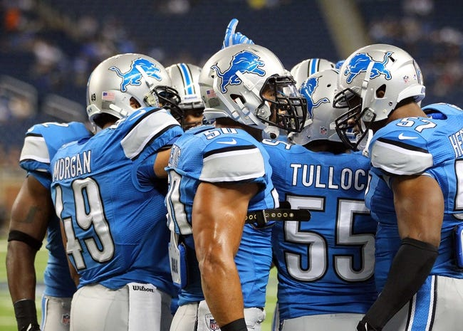 Aug 22, 2013; Detroit, MI, USA; Detroit Lions defense prior to game against the New England Patriots at Ford Field  Mandatory Credit: Mike Carter-USA TODAY Sports